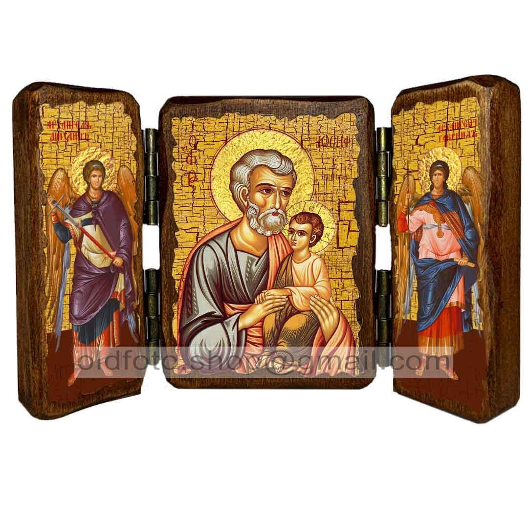 Икона Иосиф Обручник Святой праведный  ,икона на дереве 260х170 мм