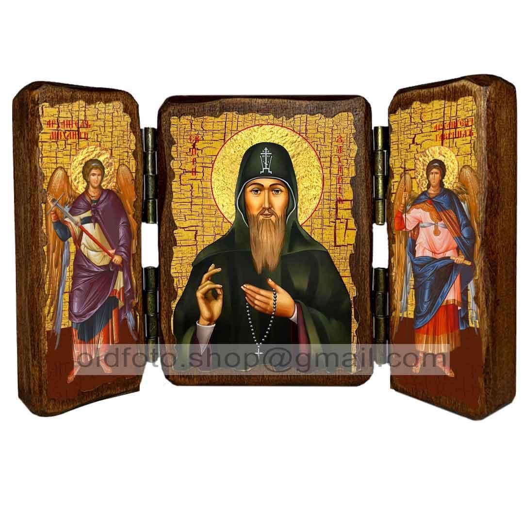 Икона Захарий Преподобный Печерский  ,икона на дереве 260х170 мм