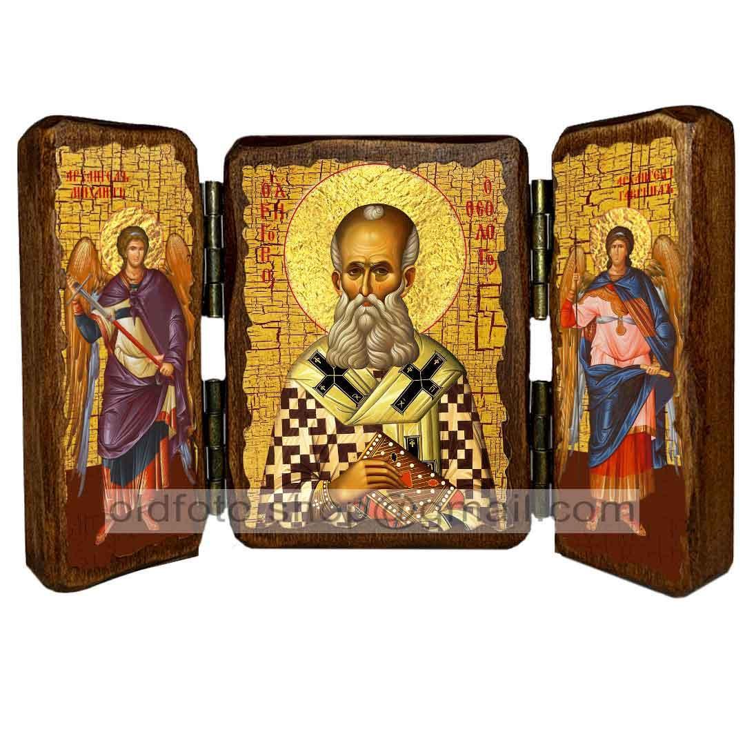 Икона Григорий Святитель Богослов (складень тройной 140х100мм)