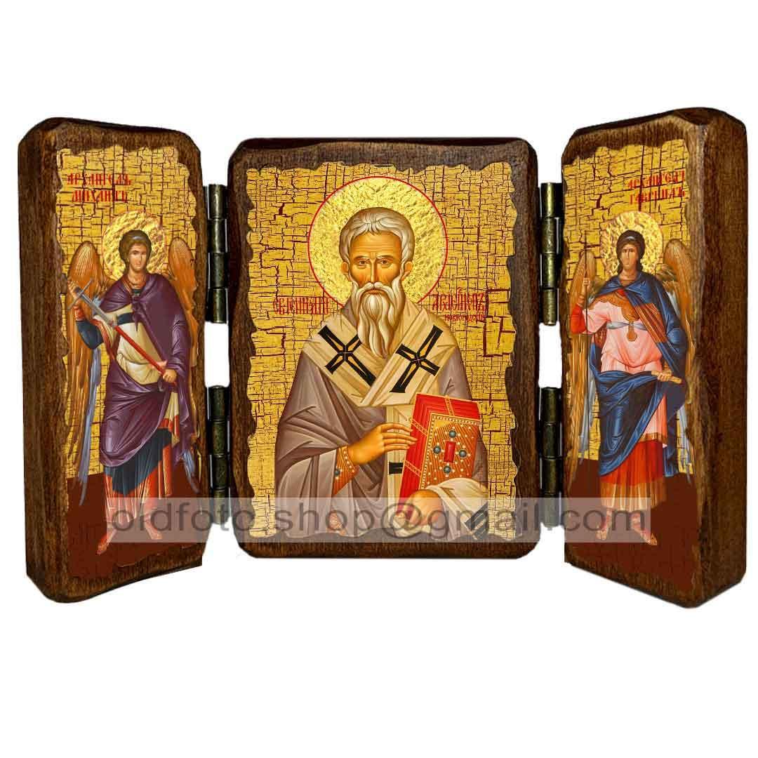 Икона Геннадий Святитель Новгородский  ,икона на дереве 260х170 мм