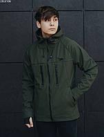 Куртка мужская с капюшоном весна-осень  Staff soft shell haki