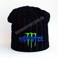 Шапка Monster Energy темно-синяя, подклад из флиса
