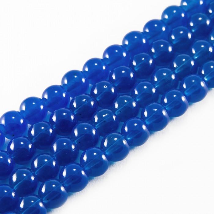 Бусины Стеклянные Имитация Нефрита, Форма: Круглая, Цвет: Синий DK101, Диаметр: 8мм, Отверстие 1мм, около 101шт/81см/нить