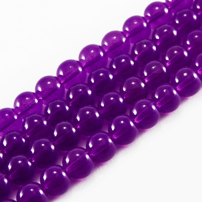 Бусины Стеклянные Имитация Нефрита, Форма: Круглая, Цвет: Фиолетовый DK102, Диаметр: 8мм, Отверстие 1мм, около 101шт/81см/нить