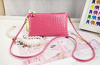 Сумка женская кожзам розового цвета, клатч, сумочка-клатч с плечевым ремнем 11*21см