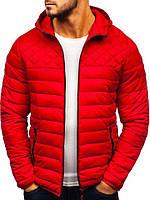 Мужская стеганая куртка на осень/весну с капюшоном, красная, фото 1