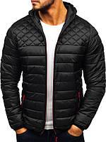Мужская простроченная куртка на осень/весну с капюшоном, черная, фото 1