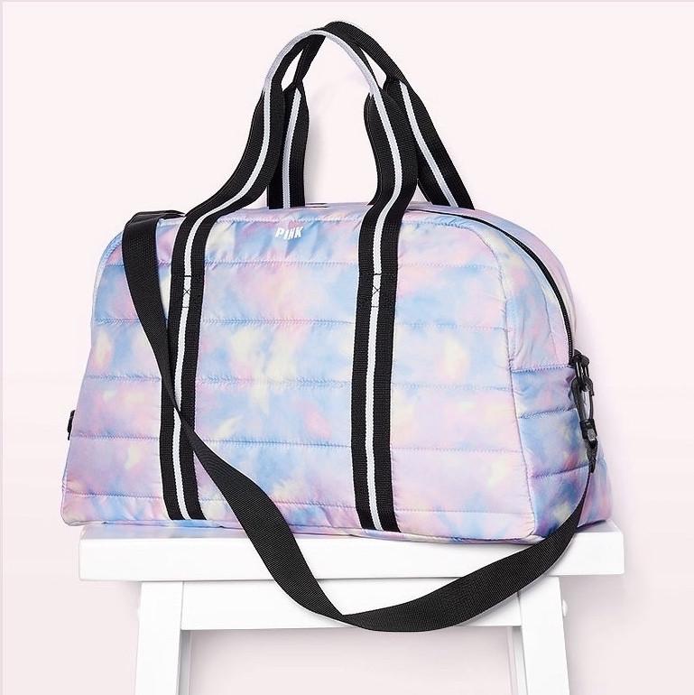 Сумка Спортивная Victoria's Secret PINK Sport Quilted Duffle Gym Bag, Голубая