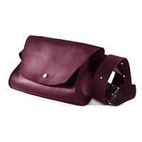 Кожаная женская сумка на пояс The Girl Винного цвета (as180102), фото 1