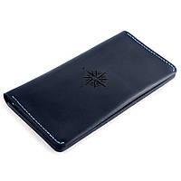 Большой кошелек-клатч из кожи The Travel с гравировкой Compass Темно-синий (as140103-2), фото 1