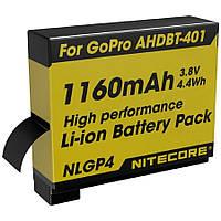 Аккумулятор литиевый Li-Ion Nitecore NLGP4 для GoPro AHDBT-401 3,7V (1160mAh)