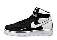 """Кроссовки мужские кожаные высокие Nike Air Force High """"Черные с белым"""" найк аир форс р.41-45"""
