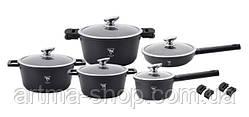 Набор посуды алюминиевый с мраморным покрытием 16предметов Top Kitchen Германия Черный
