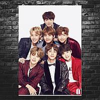 "Постер ""BTS. Все участники, групповое фото"". Bangtan Boys, k-pop. Размер 60x43см (A2). Глянцевая бумага"