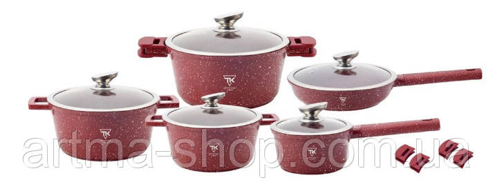 Набор посуды алюминиевый с мраморным покрытием 16 предметов Top Kitchen Германия Красный