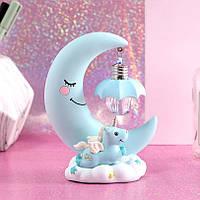 Детский ночник светильник Единорог и луна SP140-8 голубой