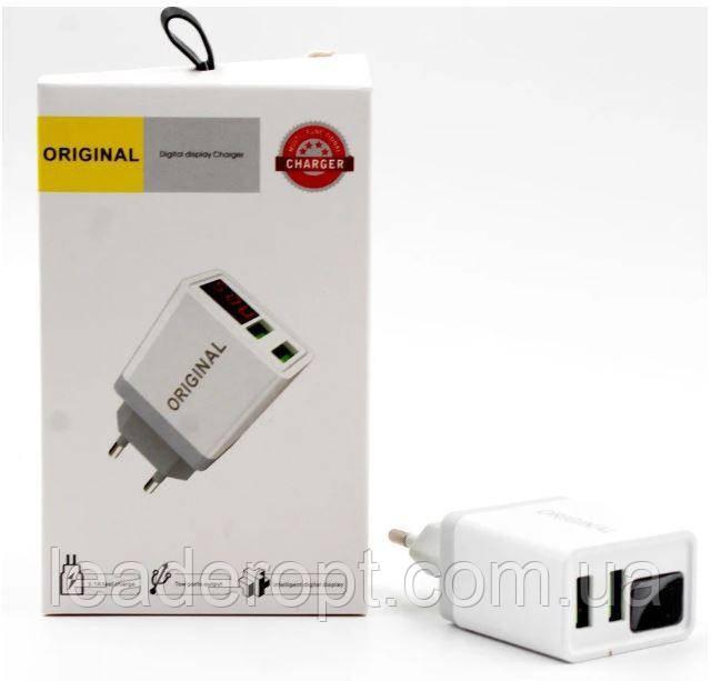 ОПТ Зарядний пристрій мережевий адаптер LCX QC03 2 USB With Digital Display 220 V