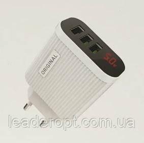 ОПТ Зарядний пристрій мережевий адаптер Original 3 USB With Digital Display 220 V