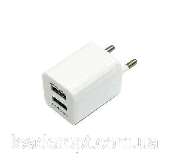 ОПТ Зарядний пристрій мережевий адаптер 2 USB 220 V Кубик