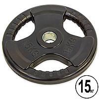 Блины (диски) обрезиненные с тройным хватом и металлической втулкой d-52мм Record 15кг (черный)