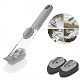Универсальная щетка для мытья посуды с дозатором моющего средства, фото 5