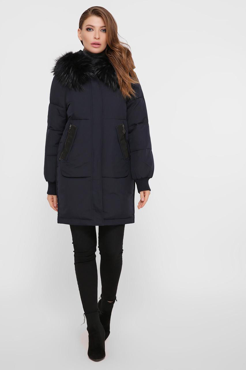 Темно-синяя зимняя куртка