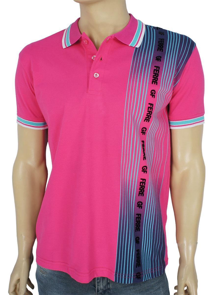 Стильная мужская тенниска GF FERRE PC-1368 розового цвета