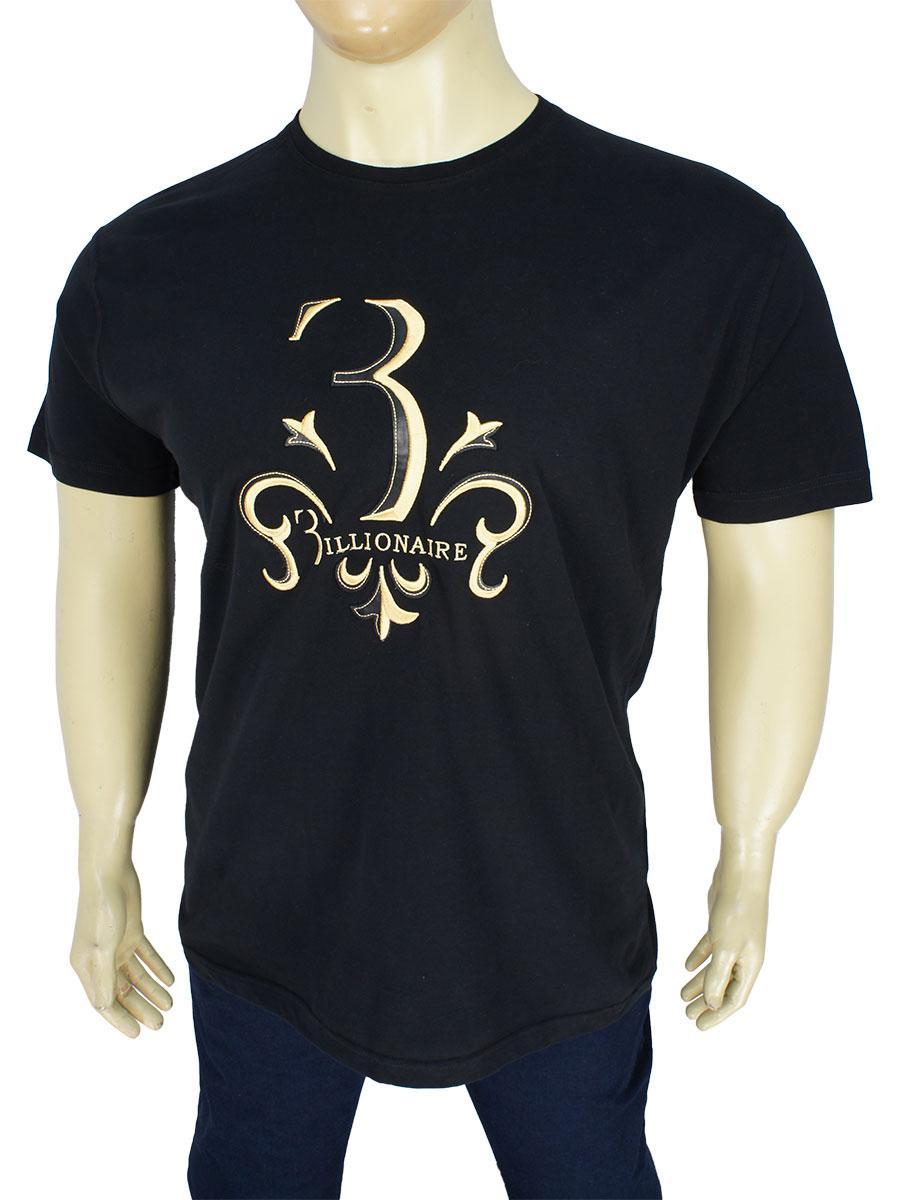 Мужская качественная футболка Billionaire 05/B-SS19 Black в черном цвете большого размера