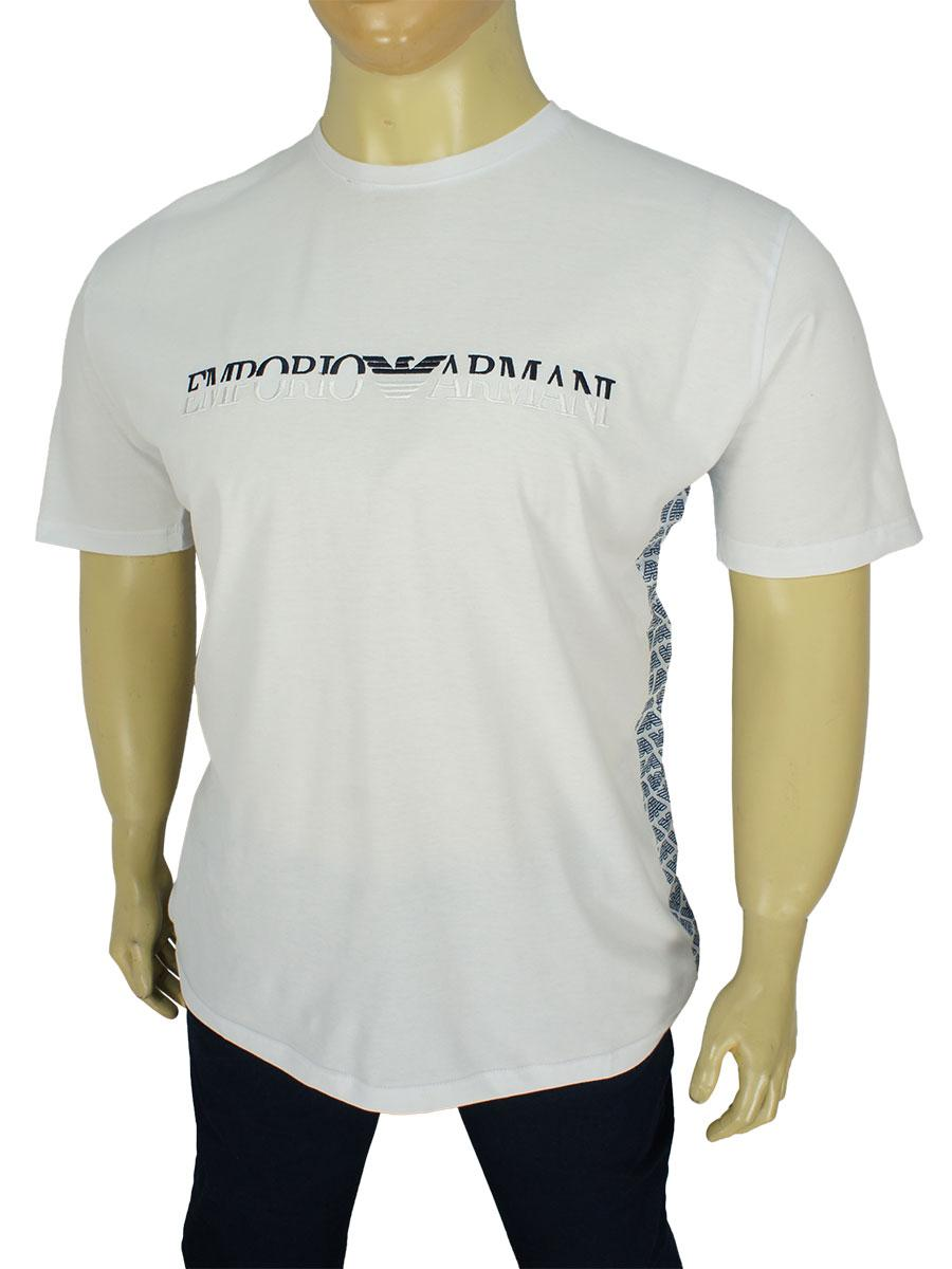 Стильная белая мужская футболка  03/B-SS19 White больших размеров