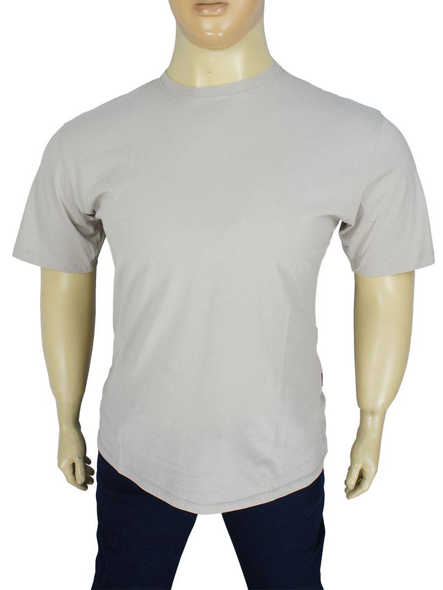 Мужская однотонная футболка Laperon PRN-4110 B серого цвета большого размера