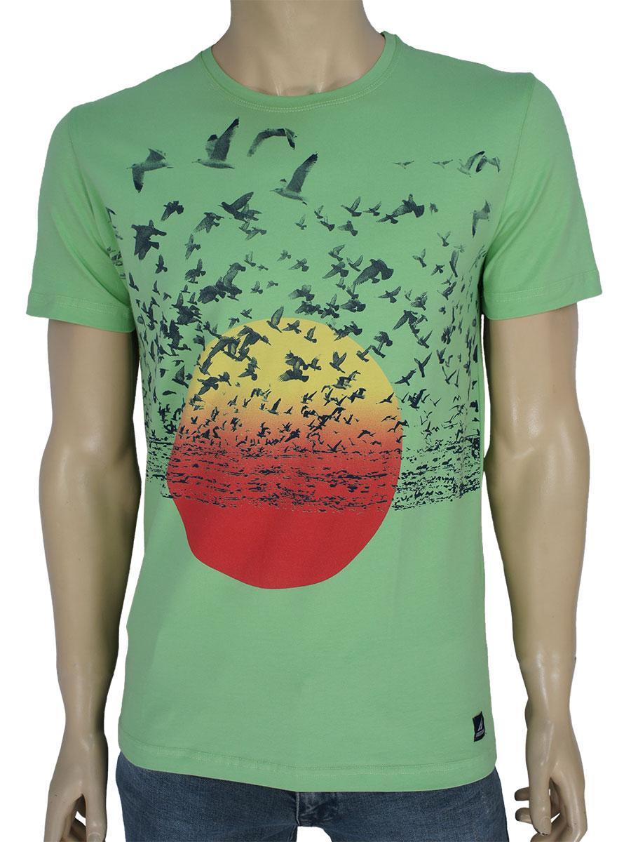 Мужская футболка Fabianі 23264 Fistik Yesil фисташкового цвета