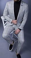 Костюм стильный мужской 2-ка брюки и пиджак классический серый в клетку