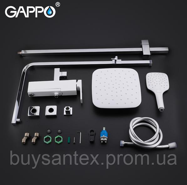 Душова система виливши є перемикачем на лійку білий / хром Gappo Futura G2417-8