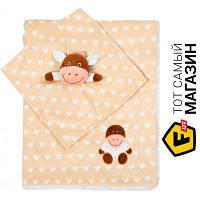 Плед для новорожденных 100 x 75 см - облегченное - полиэфирное волокно Babyono Minky. Коровка 75x100см, бежевый (1412/04) бежевый