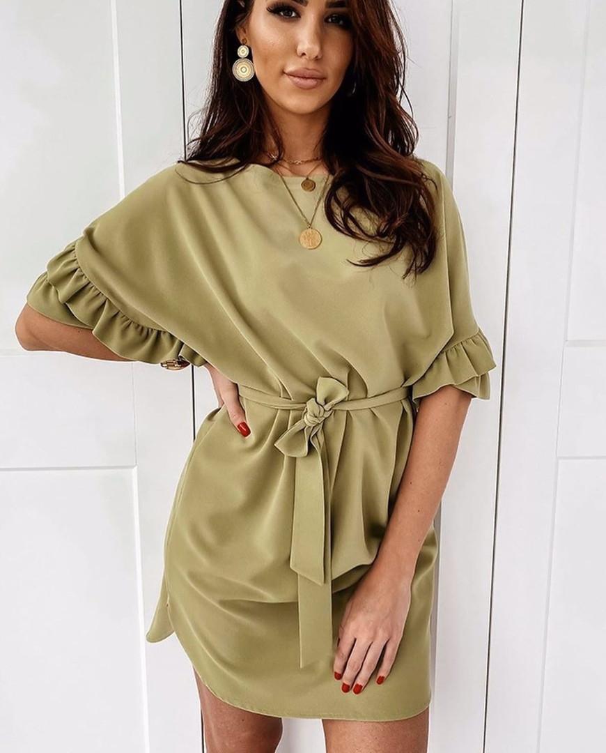 """Короткое стильное платье """"Nikol"""" с поясом и оборками на рукавах (3 цвета)"""
