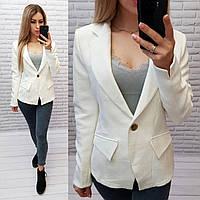 Пиджак / жакет вафелька с подкладкой длинный рукав арт. S1084/1 белый / белого цвета, фото 1