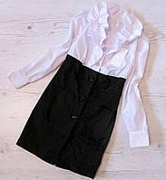 Р. 122 Дитяче плаття для школи чорний низ, білий верх, фото 1