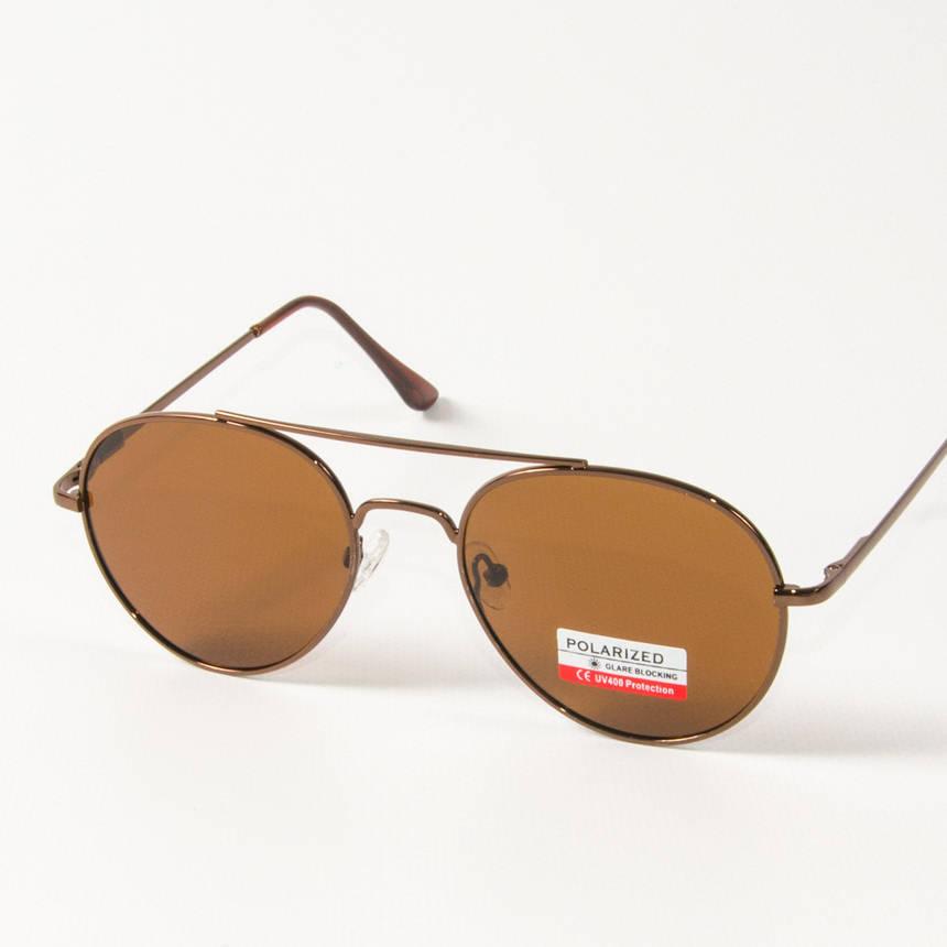 Оптом поляризационные  солнцезащитные очки авиаторы (арт. P8048/5) коричневые, фото 2