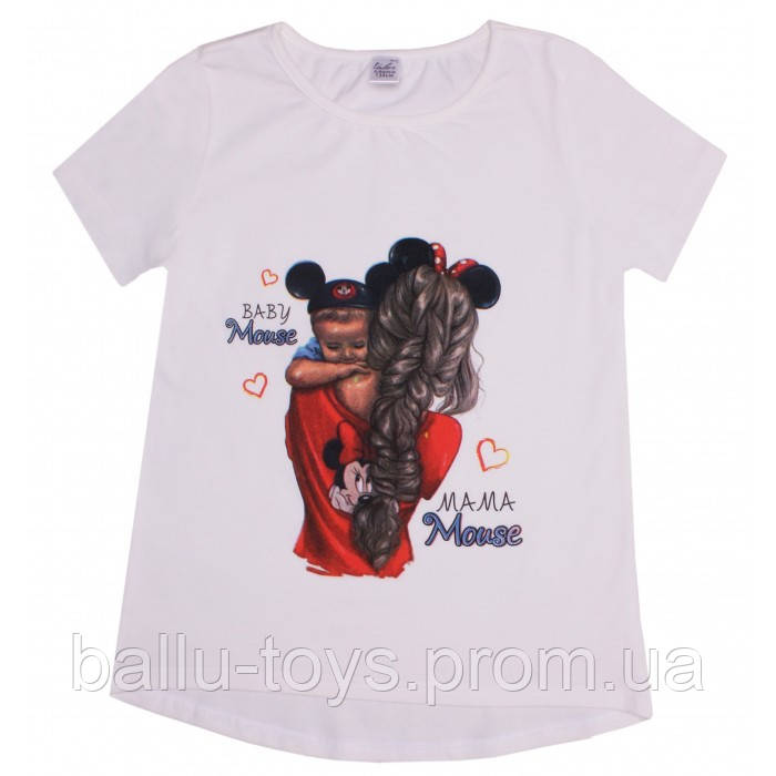 Оригинальная летняя футболка для девочки mama&baby (6-15 лет)