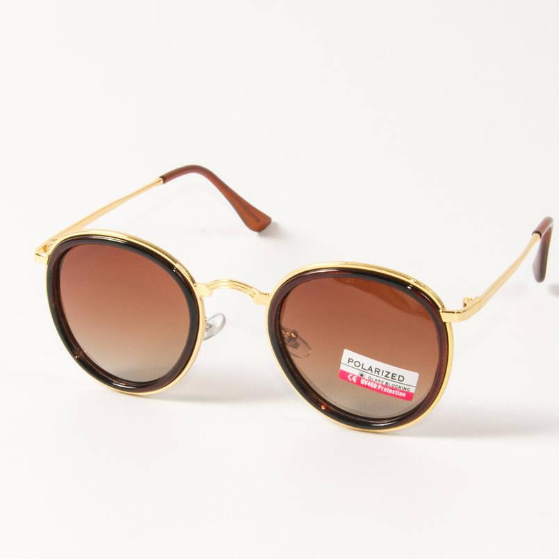 Оптом женские поляризационные  солнцезащитные круглые очки (арт. P3389/2) коричневые, фото 2