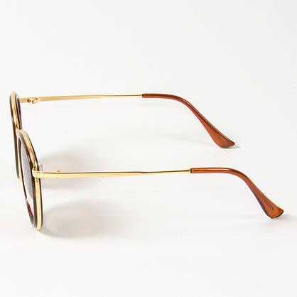 Оптом женские поляризационные  солнцезащитные круглые очки (арт. P3389/2) коричневые, фото 3