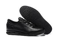 Мужские кожаные кроссовки кеды ECCO Cool Exhale Gore Tex, чёрные. Размер 40-44, фото 1