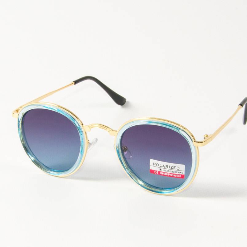 Оптом женские поляризационные  солнцезащитные круглые очки (арт. P3389/4) синие, фото 2