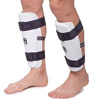 Защита голени и предплечья для тхэквондо MOOTO, PU, р-р S-XL, набор 4 щитка, белый (BO-5098-W)