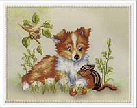 Набор для вышивки крестиком Собачка с бурундуком  20х25 см МП Студия