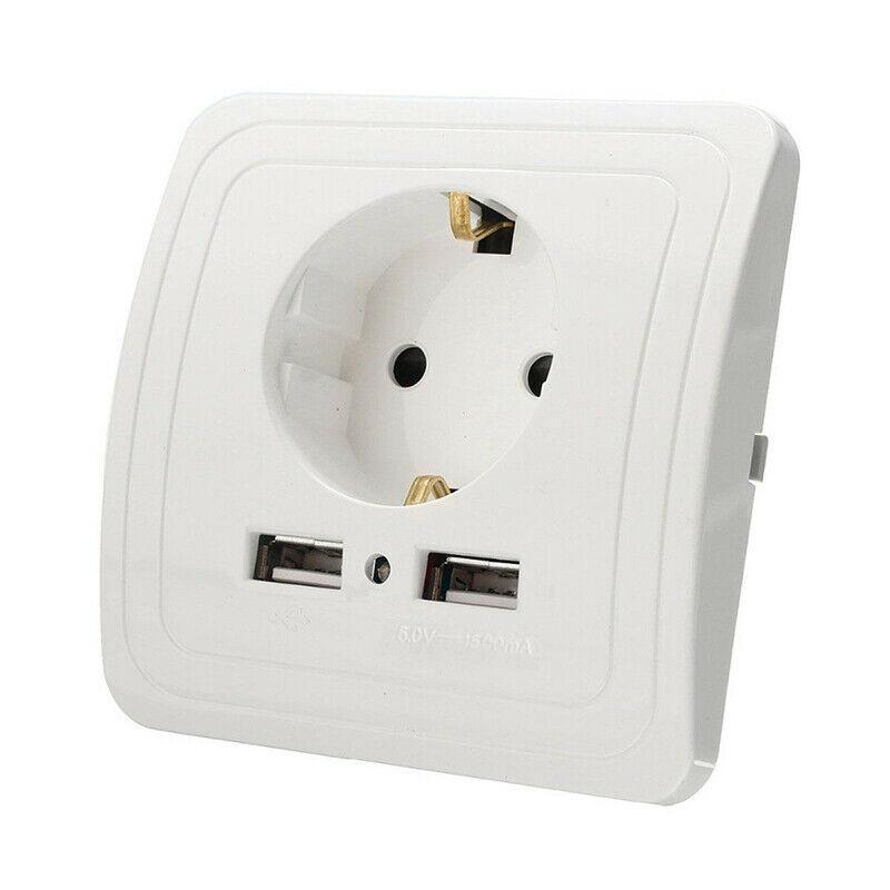 Розетка с 2-мя USB зарядками, разъемами, портами встраиваемая 220V - Белый