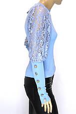 Жіноча трикотажна кофта із мереживом на рукавах, фото 3