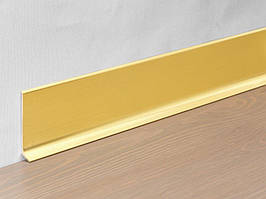 Плоский алюминиевый плинтус для пола Profilpas Metal Line модель 90 высота 80 мм., Золотой сатинированый