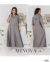 Женское, длинное свободного кроя платье из лена в клетку . Большого размера Р- 50-52, 54-56, 58-60, 62-64