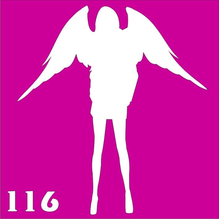 Девушка с крыльями - трафарет для био тату